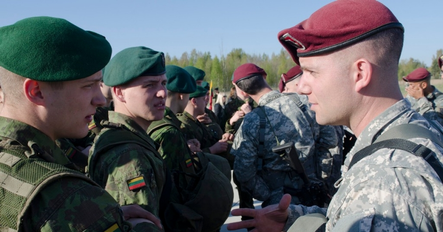Paratroopers from the 173rd Airborne Brigade training with NATO allies in Lithuania