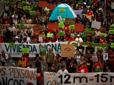 Protests in Malaga, Spain against the government's spending cuts and failure to revive the moribund economy
