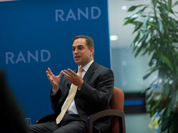 Seth Jones speaking at a colloquium on the Middle East at RAND's Santa Monica office on May 14, 2014