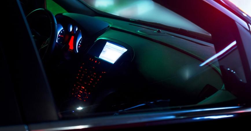 Car interior with a dashboard computer