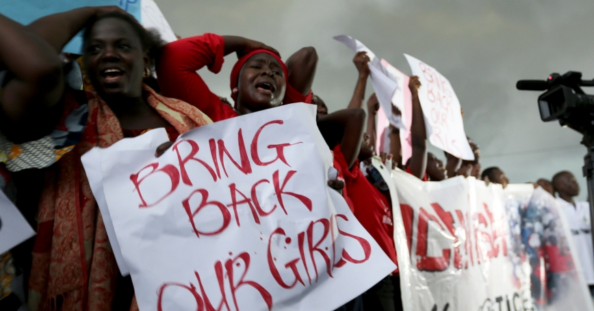 Protesters outside Nigeria's parliament demand security forces search harder for the 200 schoolgirls abducted by Boko Haram