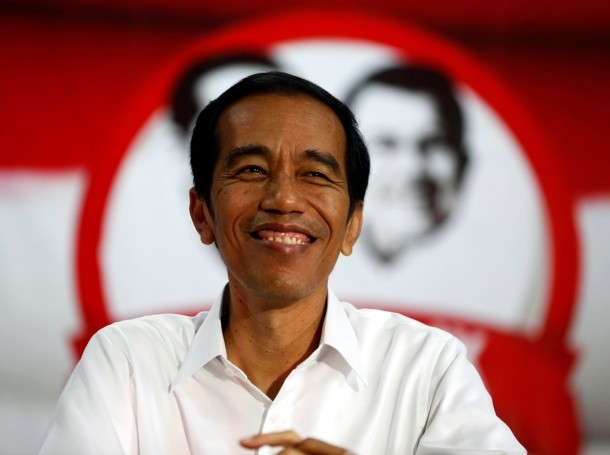 Indonesia's presidential candidate Joko Widodo smiles during a speech in Serang, Indonesia, July 16, 2014