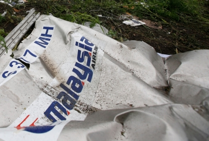 Wreckage from a Malaysian Airlines Boeing 777 plane that was downed in the Donetsk region of Ukraine, July 18,