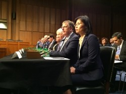 Yool Kim and other witnesses at the July 16, 2014 joint hearing of the Senate Armed Services Committee, Subcommittee on Strategic Forces and Senate Commerce, Science, and Transportation Committee