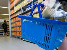 Shopping basket in supermarket