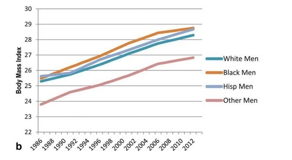 Increase in average BMI nationwide by racial/ethnic group (men)