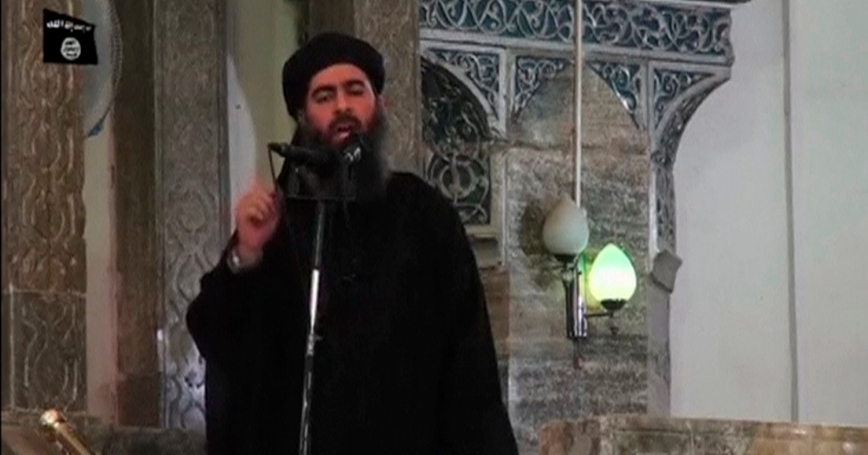 A man purported to be Abu Bakr al-Baghdadi, the reclusive leader of the militant Islamic State, allegedly in what would be his first public appearance at a mosque in Mosul, Iraq