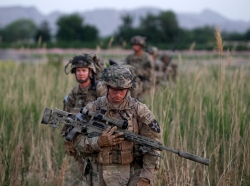 U.S. soldiers on patrol in Kandahar province, southern Afghanistan, April 24, 2012