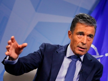 NATO Secretary General Anders Fogh Rasmussen during an interview with Reuters at the Alliance headquarters in Brussels, August 11, 2014