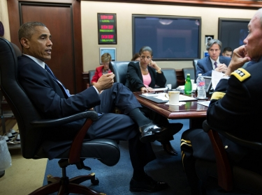 U.S. President Barack Obama meets with the National Security Council in the Situation Room of the Whi