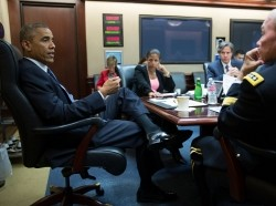 U.S. President Barack Obama meets with the National Security Council in the Situation Room of the White House in Washington
