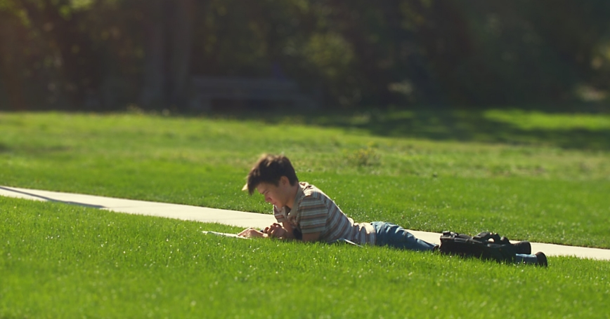 A student reads on a university lawn