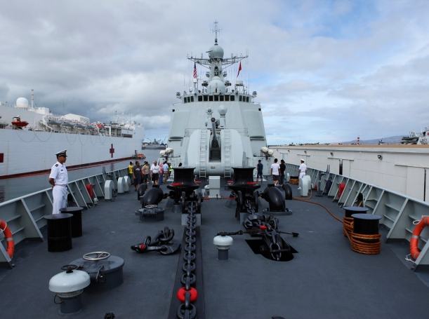 A view from the deck of the Chinese PLA Naval ship Haikou; for the first time, China participates in RIMPAC, the world's largest biennial naval exercise between the U.S. and Pacific Rim nations