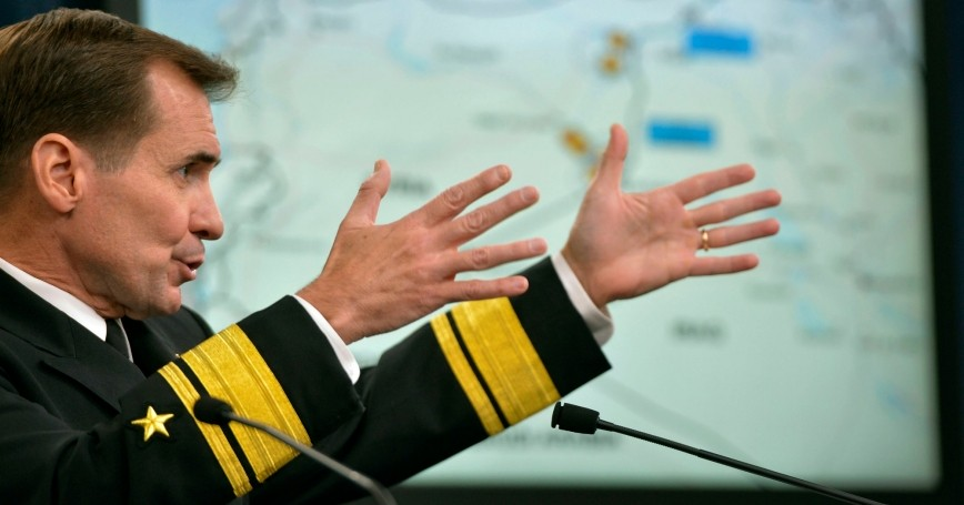 Pentagon Press Secretary Navy Rear Adm. John Kirby briefs reporters on airstrikes on ISIL  targets in Syria, Sept. 25, 2014