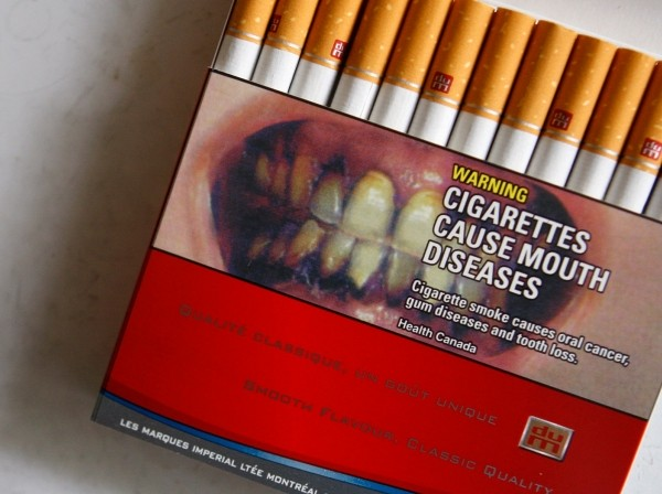 A pack of cigarettes with a warning label in Montreal, Canada, June 28, 2007
