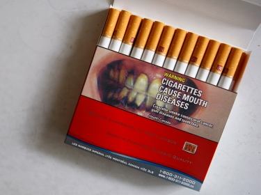 A pack of cigarettes with a warning label in Montreal, Canada,