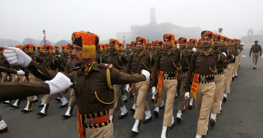 India's Central Industrial Security Force (CISF) personnel march during a rehearsal for the Republic Day parade in New Delhi, January 4, 2013
