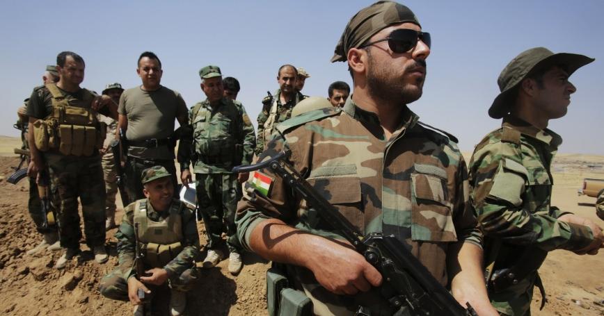 Kurdish Peshmerga forces guard their position near Tal Afar, west of Mosul against Islamic State militants