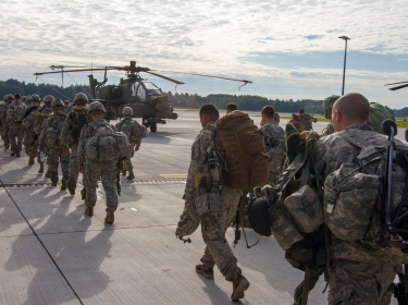 Paratroopers depart Lielvarde Airbase, Latvia, Sept. 8, 2014, at the conclusion of a NATO exercise involving over 2,000 troops from 10 nations that focuses on increasing interoperability and synchronizing complex operations