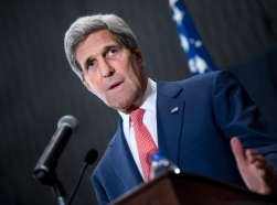 U.S. Secretary of State John Kerry during a joint news conference with Egypt's foreign minister in Cairo, September 13, 2014