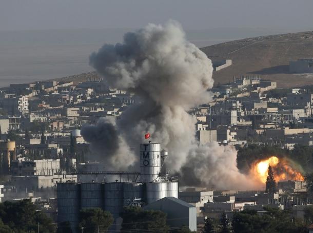 Smoke rises after a U.S.-led airstrike in Kobani, Syria, October 10, 2014