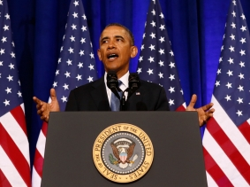 U.S. President Barack Obama speaks about the National Security Agency from the Justice Department in Washington January 17, 2014