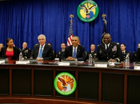 U.S. President Barack Obama participates in a briefing from top military leaders while visiting U.S. Central Command at MacDill Air Force Base, September 17, 2014