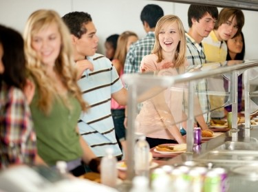 College students in a cafeteria line