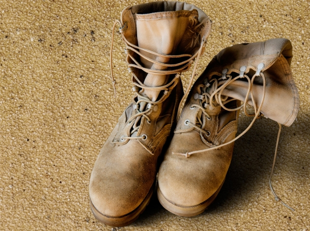 U.S. Army boots on sand