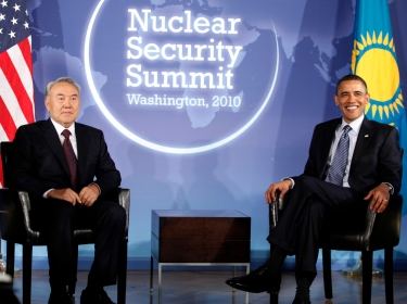 Kazakhstan President Nursultan Nazarbayev meets with U.S. President Barack Obama during a nuclear security summit in April 2010