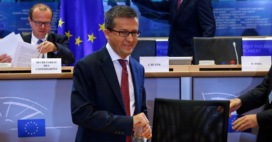 Research, Science and Innovation Commissioner-designate Carlos Moedas of Portugal waits for the start of his hearing before the European Parliament's Committee on Industry, Research and Energy, at the EU Parliament in Brussels September 30, 2014