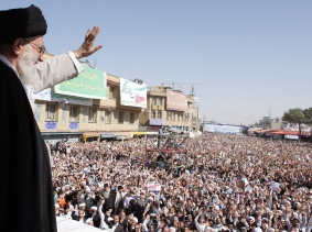 Iran's Supreme Leader Ayatollah Ali Khamenei waves to the crowd in the holy city of Qom, October 2010, photo supplied by Khamenei.ir to Reuters