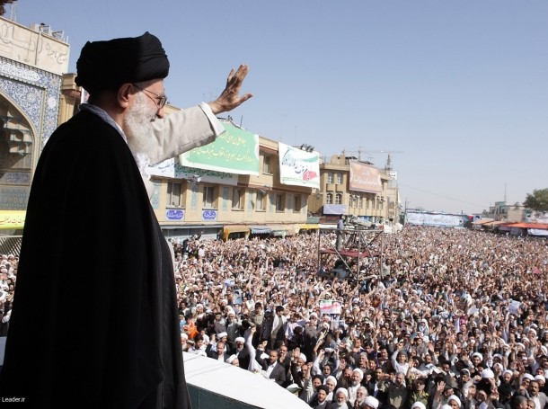 Iran's Supreme Leader Ayatollah Ali Khamenei waves to the crowd in the holy city of Qom, October 2010