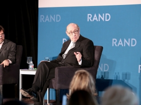 Rob Cox and Kenneth Feinberg at RAND's Politics Aside 2014, photo by Alex Cohen/RAND Corporation