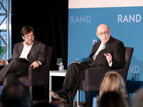 Rob Cox and Kenneth Feinberg at RAND's Politics Aside 2014