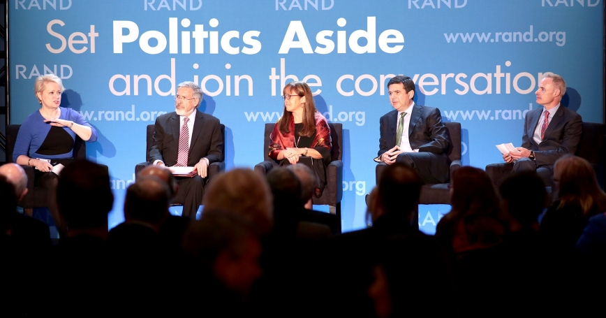Susan Dentzer, Leonard Schaeffer, Sue Siegel, David Goldhill, and Bob Kocher at RAND's Politics Aside 2014