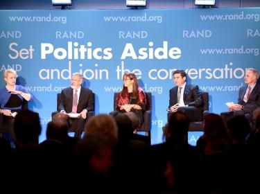 Susan Dentzer, Leonard Schaeffer, Sue Siegel, David Goldhill, and Bob Kocher at RAND's Politics Aside 2014