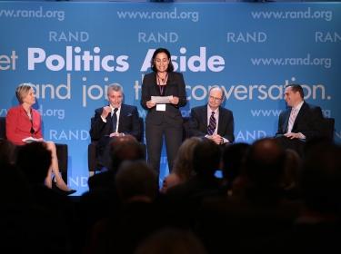 Karen Elliott House, Brian Michael Jenkins, Dalia Dassa Kaye, James Dobbins, and Seth G. Jones at RAND's Politics Aside 2014