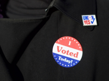 Gail Lopez-Henriquez wears an 'I Voted Today' sticker on Election Day morning in Philadelphia, Pennsylvania, November 4, 2014