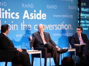 Dayan Candappa, Carlos Slim Helu, and Saad Mohseni at RAND's Politics Aside 2014