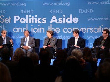 Michael Rich, Francis Fukuyama, Sheila Bair, Nicolas Berggruen, and Simon Sinek at RAND's Politics Aside 2014