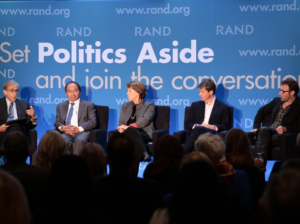Michael Rich, Francis Fukuyama, Sheila Bair, Nicolas Berggruen, and Simon Sinek at RAND's Politics Aside 2014