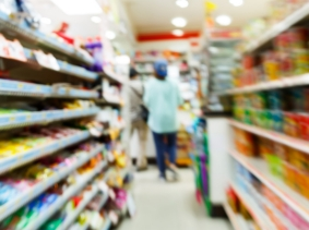 A blurry convenience store aisle