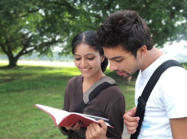 Two Indian college students outdoors