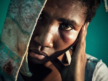 A survivor of sexual violence, waiting to be seen at the Antenatal Clinic in Port Morseby, Papua New Guinea