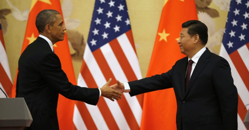 U.S. President Barack Obama and Chinese President Xi Jinping shake hands at the end of a news conference in the Great Hall of the People in Beijing, November 12, 2014