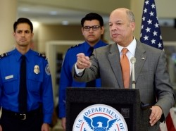 U.S. Homeland Security Secretary Jeh Johnson speaks at Los Angeles International Airport in California, February 20, 2014