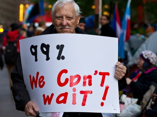 A man at an Occupy Wall Street protest in New York City, October 2011