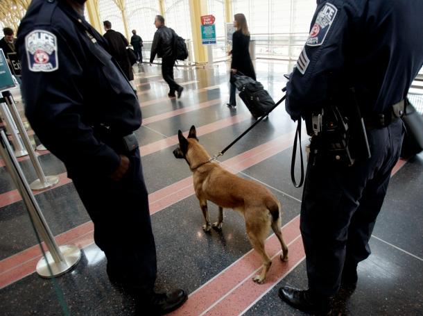 A K-9 police unit keeps watch as passengers make their way through Ronald Reagan Washington National Airport
