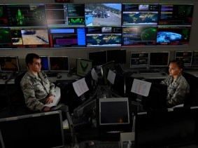 Service members working in the Global Strategic Warning and Space Surveillance System Center